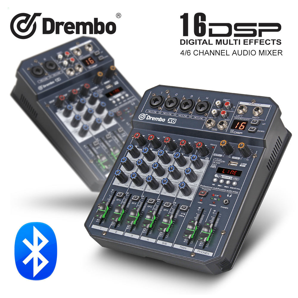 professional X4 6channel Protable digital audio mixer console with DSP effect Sound Cardbluetooth USB for DJ PC Recording