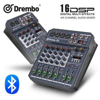 цена на professional X4/6channel Protable digital audio mixer console with DSP effect Sound Card,bluetooth, USB, for DJ PC Recording