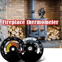 Magnetic Stove Thermometer Heat Powered for Wood Log Burning Fireplace Burner Fan with Large Display