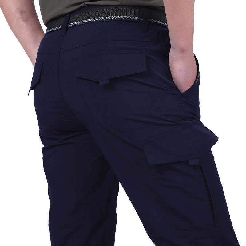 Calças táticas leves dos homens respirável verão casual exército militar calças compridas masculino à prova dwaterproof água secagem rápida carga