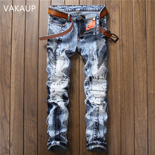 2019 New Men Jeans Hole Ripped  Destroyed Jean  Men's Jean Slim Jeans For Male Pants 2016 new black ripped jeans men with holes super skinny famous designer brand slim fit destroyed torn jean pants for male