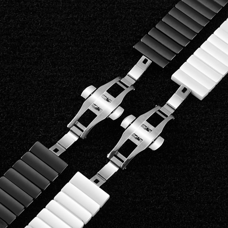 Watch Band Push Button Hidden Clasp Ceramic Bracelet Wristwatch Strap Replacement Accessories For Casio/Samsung Gear S2/moto