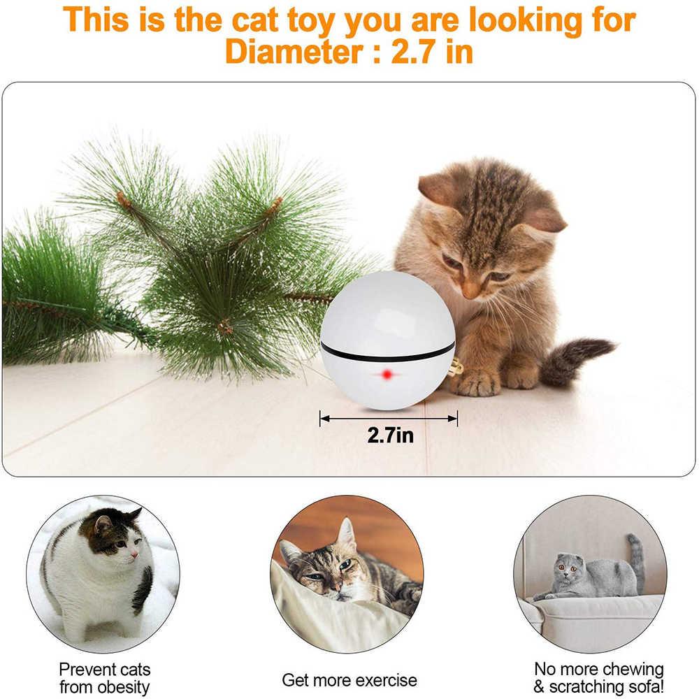 חתול צעצוע כדור, USB נטענת 360 תואר חכם עצמי מתגלגל אינטראקטיבי לחיות מחמד צעצוע, מובנה ספינינג LED אור עבור מרדף חתול לשחק