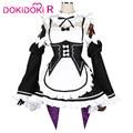 DokiDoki аниме Re Life in a другой мир от zero Rem косплей костюм женская униформа горничной Re Zero Косплей Rem