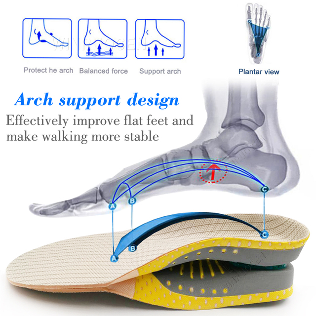 High Quality PVC Orthopedic Insoles flat foot Health Sole Pad for Shoes insert Men And Women pad for plantar fasciitis Feet Care