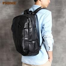 PNDME high quality simple genuine leather men's backpack casual large capacity travel computer bagpack black cowhide bookbags
