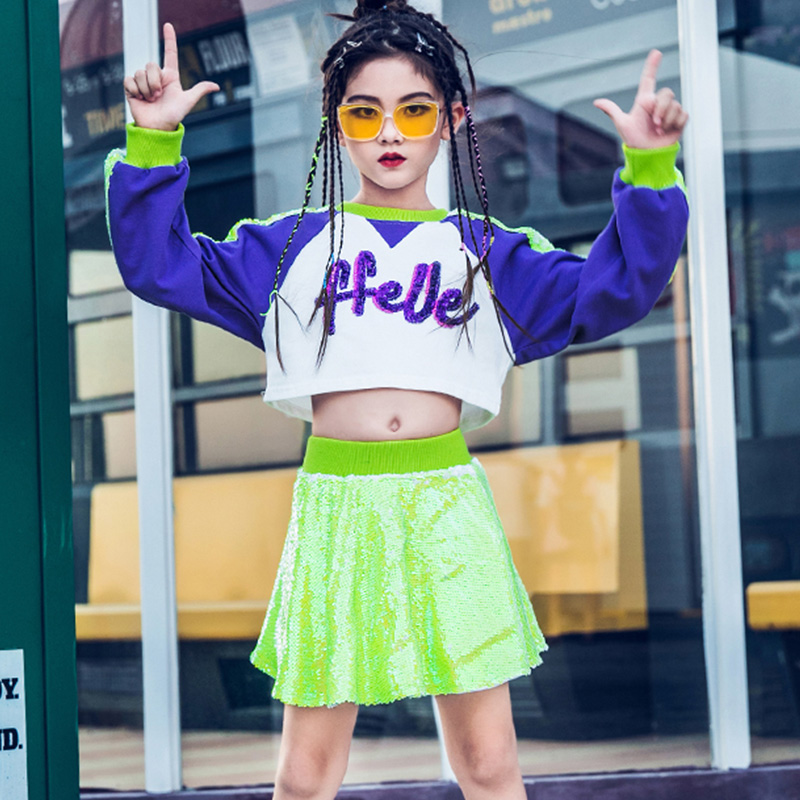 Hip Hop Dance Costumes Girls Jazz Clothing Street Dancing Outfit Kids Modern Stage Wear Child Sequins Cheerleading Suit DN4364