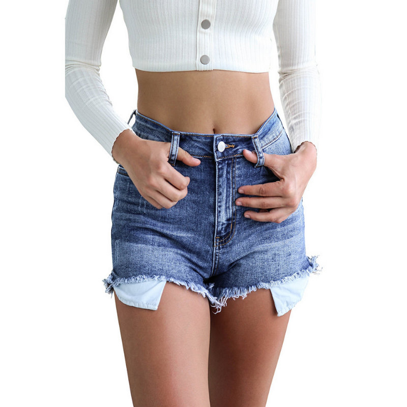 New Style 2020 Fashion Solid Blue Woman Jeans High Hollow Out Women's Shorts 1009