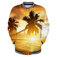 Aikooki Beach Coconut Tree Shell Jackets Men/Women Hoodies Sea Beautiful Seaside View Baseball Jacket Boys/Girls Button Outwear(China)
