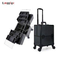Aluminium rahmen + ABS Kosmetische Fall, Make-Up-tool Box mit rädern, Roll schönheit Koffer Tasche, große kapazität Make-up Trolley Gepäck