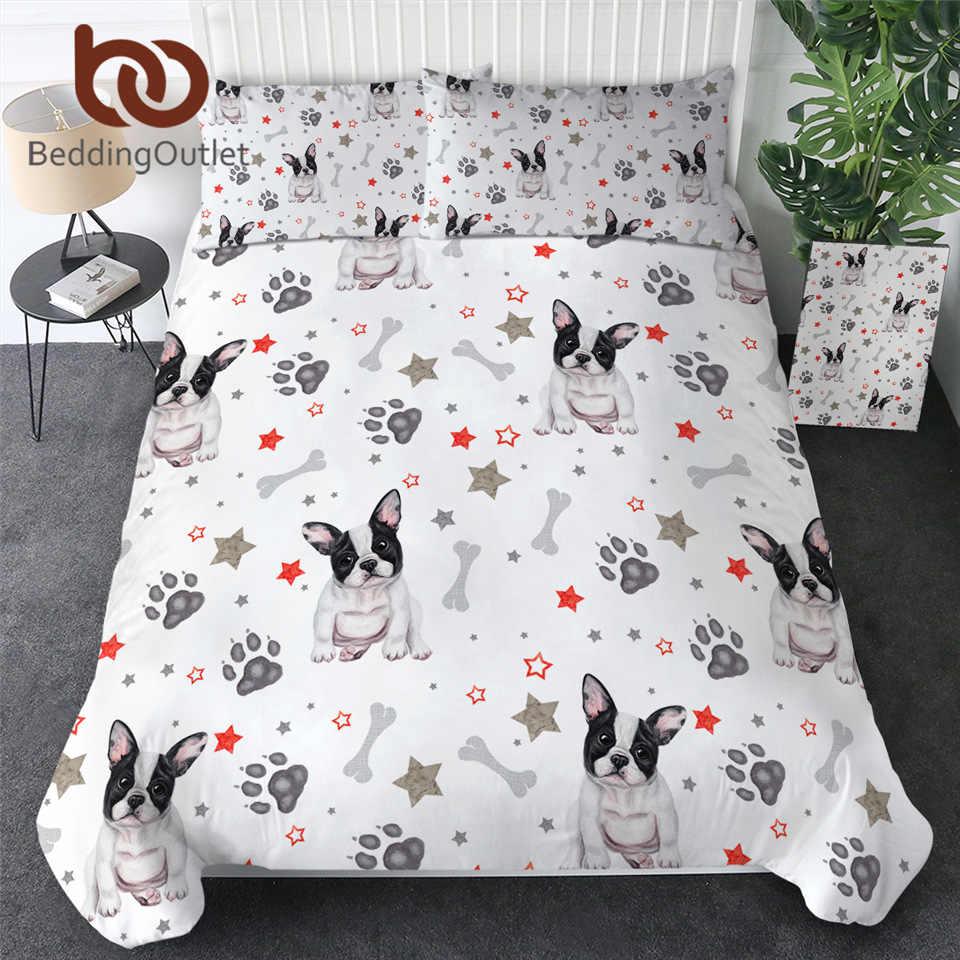 BeddingOutlet Pháp Bulldog Túi Đựng Chăn Màn Bộ Hoạt Hình Chó Bộ Chăn Ga Gối Cho Trẻ Em Màu Nước Con Chó Con Chân Lông Drap Giường Xương Rồng Vỏ Gối