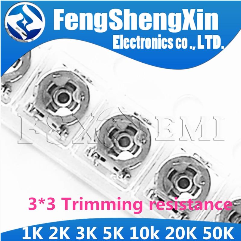 100pcs Trimming Resistance 1K 2K 3K 5K 10k 20K 50K Ohm 3*3 Smd Adjustable Resistance 3x3 Adjustable SMD Potentiometer Resistance
