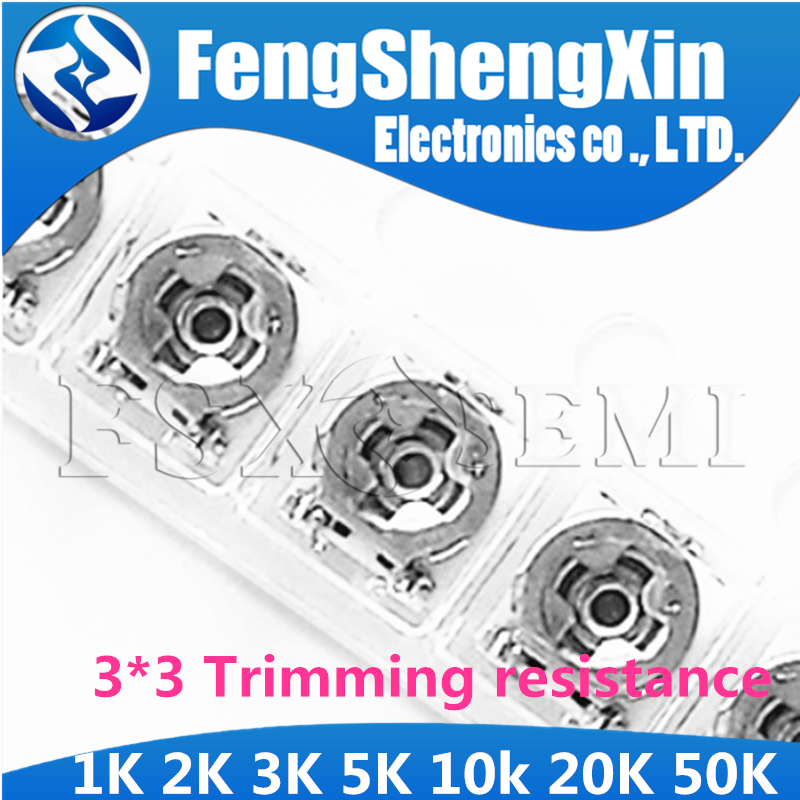 20pcs Trimming resistance 1K 2K <font><b>3K</b></font> 5K 10k 20K 50K <font><b>ohm</b></font> 3*3 smd Adjustable resistance 3x3 adjustable SMD Potentiometer Resistance image
