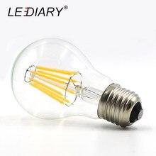 LEDIARY 5 uds regulable Retro E27 Bombilla de filamento LED luz Bombilla LED E27 220V-240V, 2w/4w/6w/8w/12w A60/G45 E27 Edison LED Lampen