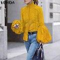 Casual Revers Tops Langarm Elegante Shirts VONDA 2021 Frauen Vintage Polka Dot Gedruckt Blusen Frauen Tunika Tops Blusas S-5XL