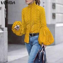 Casual solapa Tops de manga larga elegante camisas VONDA 2021 mujeres Vintage Polka Dot impreso Blusas de mujeres, Túnica Tops Blusas S-5XL