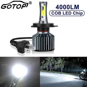 1 шт. H4 лампы фар мотоцикла HS1 светодиодный мото скутер дальний и ближний свет 35 Вт 4000LM моноблочные светодиодные чипы 6000 к рулю мотоцикла вело...