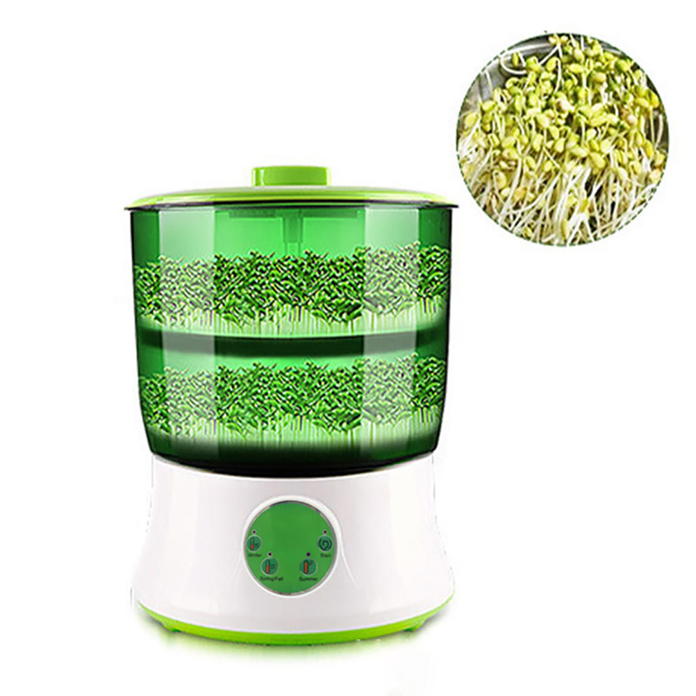 Bean Sprouts Machine Intelligent Automatic Bean Sprouts Maker 2 Layers Function Large Capacity Seed Grow Cereal Tool