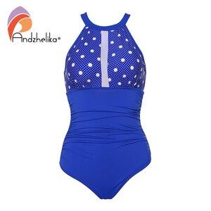 Image 2 - Andzhelika Nữ Đồ Bơi Lưng Giữa Sexy Gợi Cảm Đồ Bơi Một Mảnh Lưới Dot Miếng Dán Cường Lực Đồ Bơi Hở Lưng Bodysuit Áo Tắm Monokini