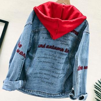 Spring Autumn Loose Denim Jacket Women High Quality Embroidery Harajuku Hooded Jean Coat Chaquetas Mujer Veste En Jean цена 2017