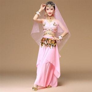 Image 4 - 5 teile/satz Rosa Stil Kinder Bauchtanz Kostüm Oriental Dance Kostüme Bauchtanz Tänzerin Kleidung Indischen Tanz Kostüme Für Kinder