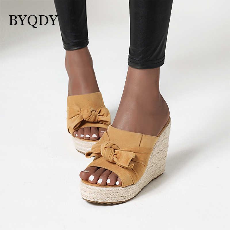 BYQDY หวาน Bow-Knot SUEDE ผู้หญิงรองเท้าแตะรองเท้าส้นสูงสุภาพสตรี Creepers แพลตฟอร์มรองเท้าแตะรองเท้าแตะชายหาดรองเท้าผู้หญิง Loafers สีเหลือง