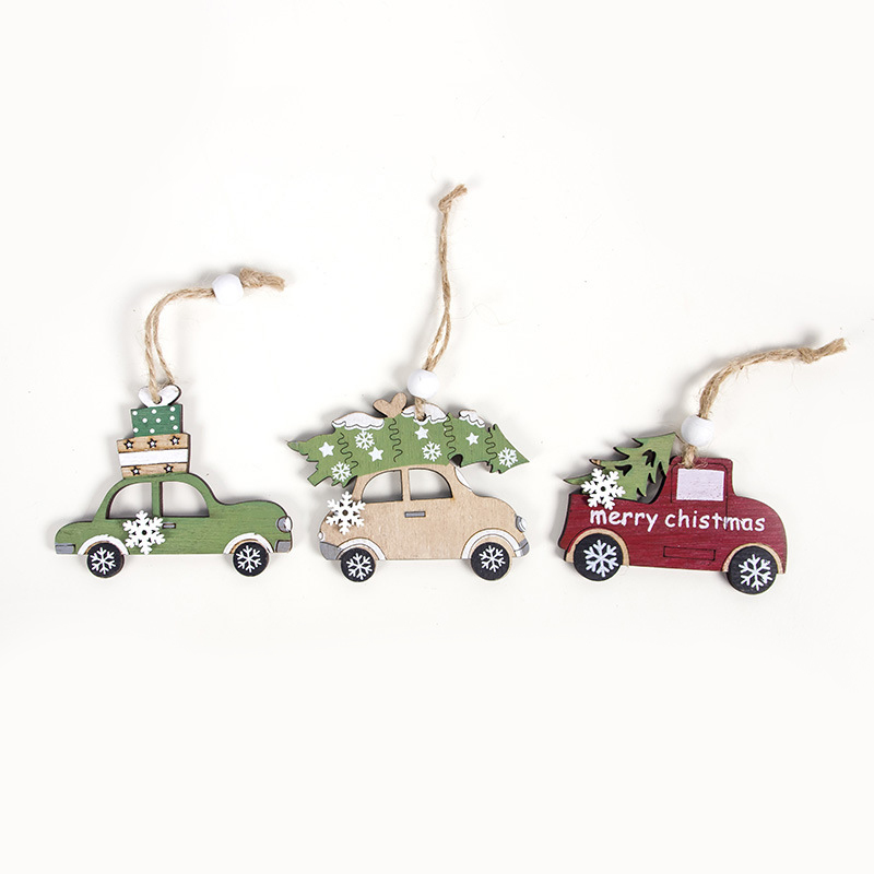 High Quality 1 Pack Of Christmas Pendant Pendant Shop Christmas Cabin Creative Wooden Deer Car House Tree Attractive 6.1*4.9cm image