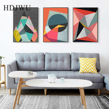Modern Art Canvas Painting Wall Picture Creative Abstract Geometry Printing Posters Pictures for Living Room  Decor DJ684