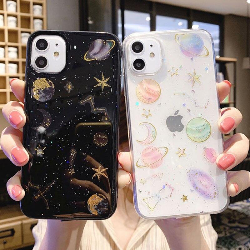 Glitter Bling Stars Moon Design Phone Back Cover For iPhone Models