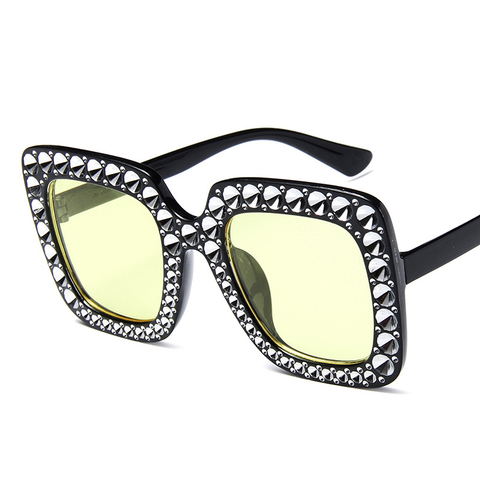 Oversize sunglasses Top Rhinestone Luxury Brand Designer Sunglasses for Women Square Shades Women Fashion Retro Sunglasses Islamabad