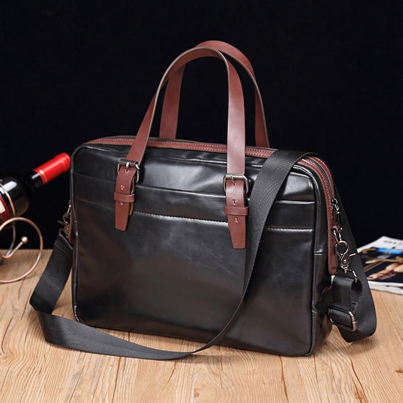 Men's Business Leather Briefcase Male Laptop Shoulder Bags Casual Vintage Bags Messenger Crossbody Bags Travel Handbags XA654ZC