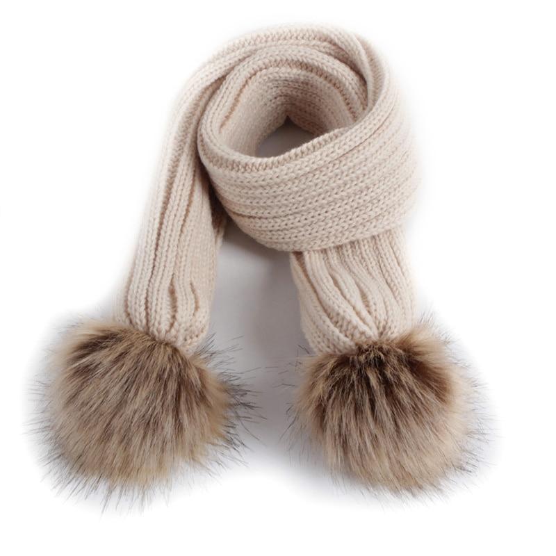 Scarf Children Neckerchief Girls Kids Boys Winter Warm Pompom Knitted Solid-Color Cute