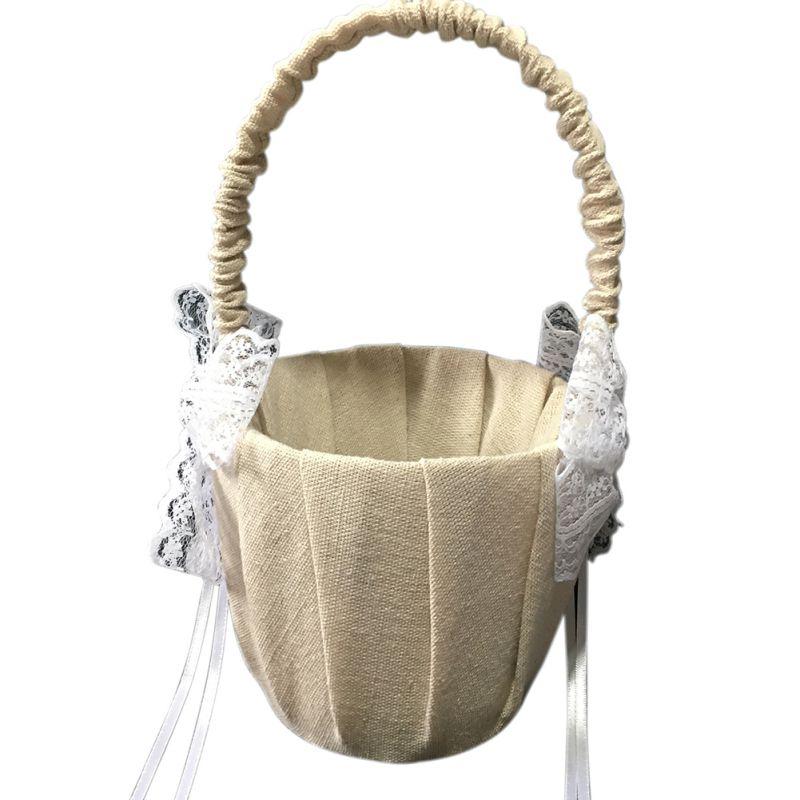Свадебные цветочные корзины для девочек, ручки для винтажной цветочной корзины для свадебной церемонии, вечерние корзины QM8047 [