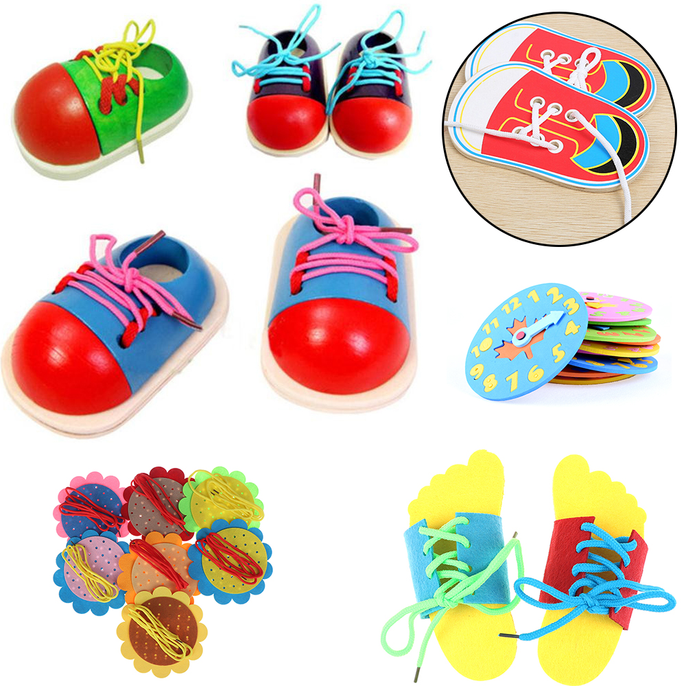 1Piece Children Kids Toys DIY Eva Clock Learning Education Toddler Lacing Shoes Montessori Wooden