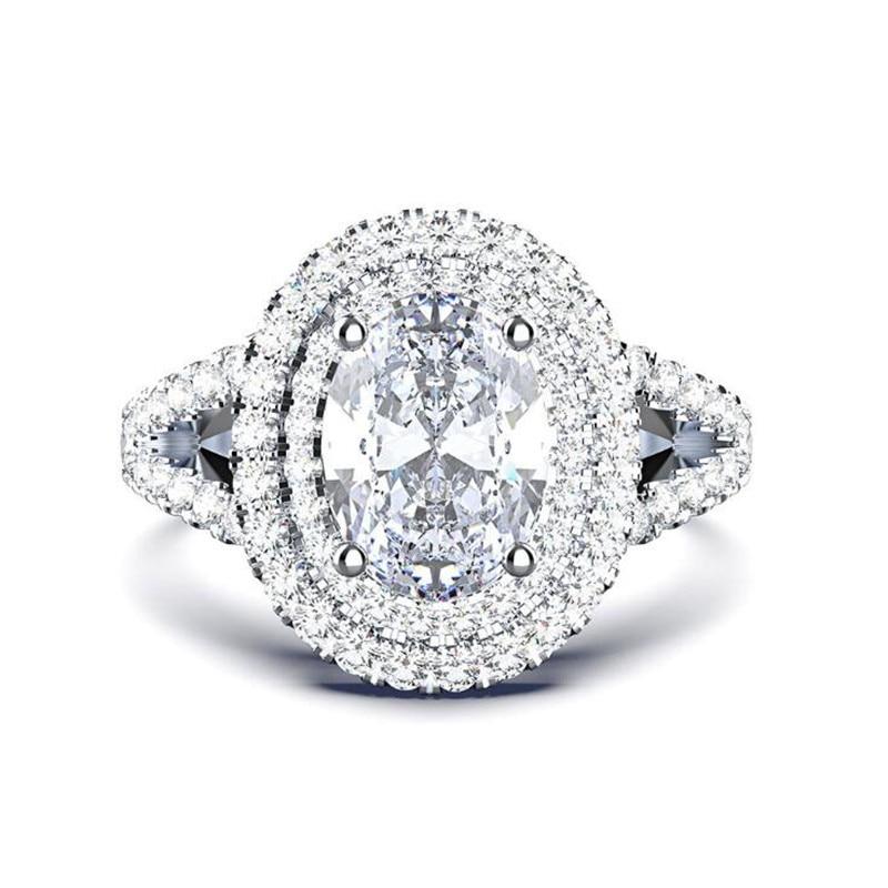 HOT Sale Handmade Vintage Jewelry 925 Sterling Silver&Gold Fill Oval Cut White Topaz CZ Diamond Gemstone Women Wedding Band Ring