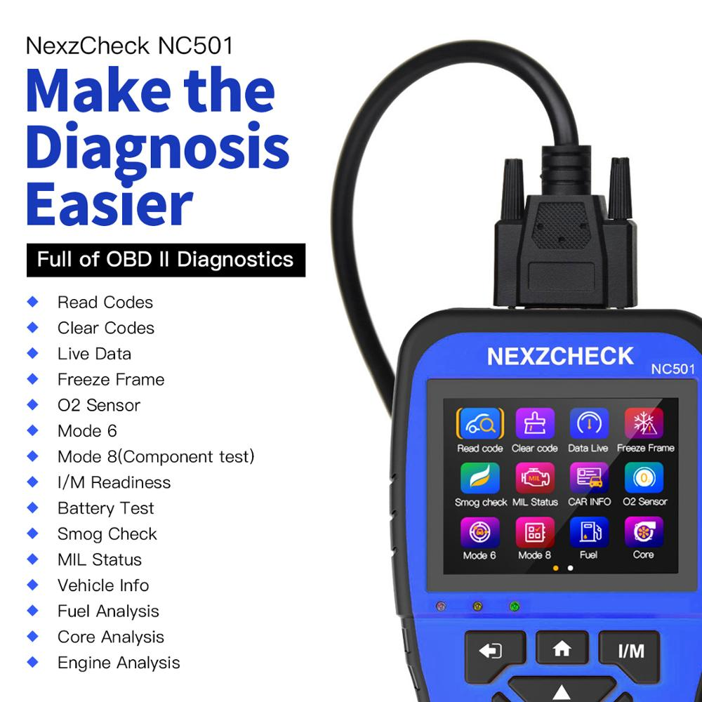 HUMZOR NexzCheck OBD2 & EOBD Scanner NC501 Engine Code Reader OBD2 Diagnostic Tool  For Universal Vehicles PK NT301 CR3008