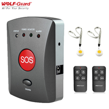 Wolf Guard Wireless GSM SMS Elderly SOS Button Panel One Key Alarm Elder/Children Two Way Speaking Tool for Home Alarm System