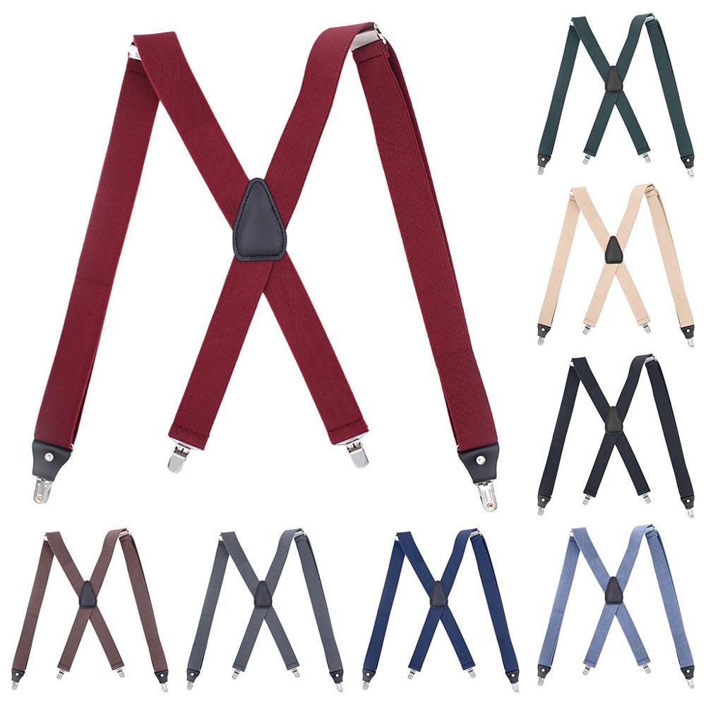 Mens Suspenders X-Back 3.5cm Wide Bts Bangtan Adjustable Suspenders Solid Braces Straight Szelki Clip Fashion Suspensorio Bts .