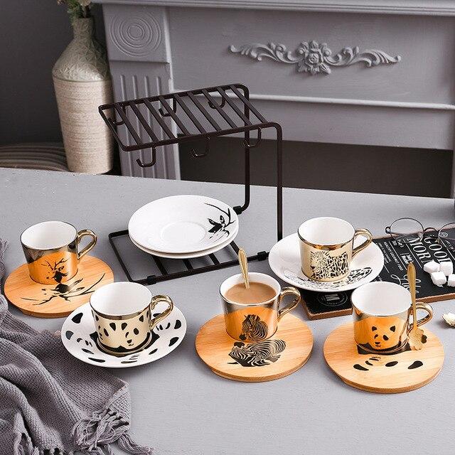 Nouveau léopard anamorphique tasse miroir réflexion tasse zèbre tasse Elk tasse à café avec plaque
