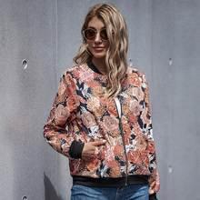 Женская Осенняя винтажная Тонкая Повседневная куртка с цветочным