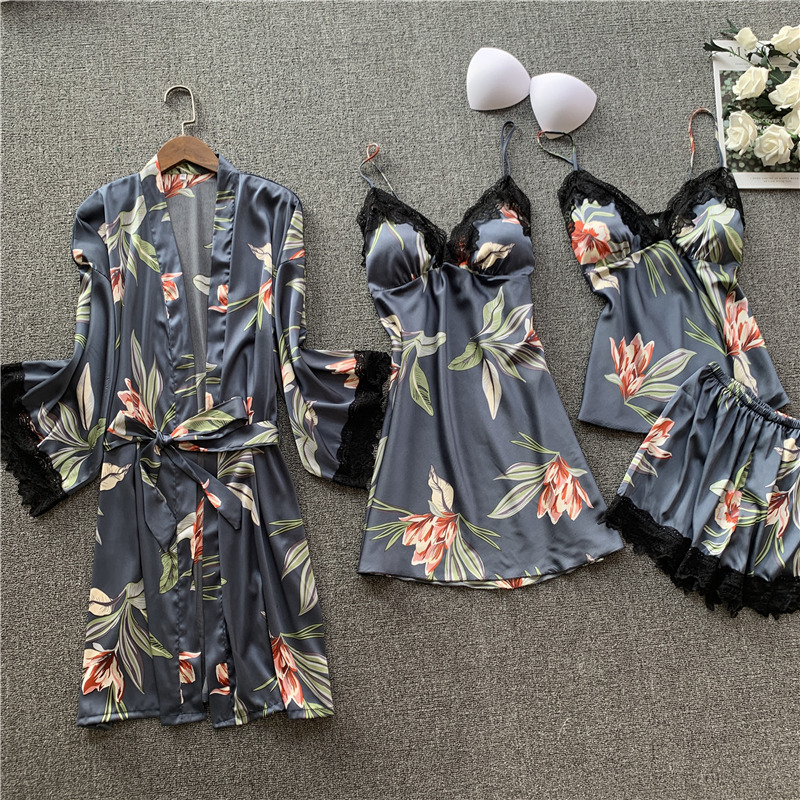 QWEEK Satin Pijama Set 4 Pieces Sexy Pajama Floral Sleepwear Women Lounge Wear Nightie Night Wear Suits  With Chest Pad 2020