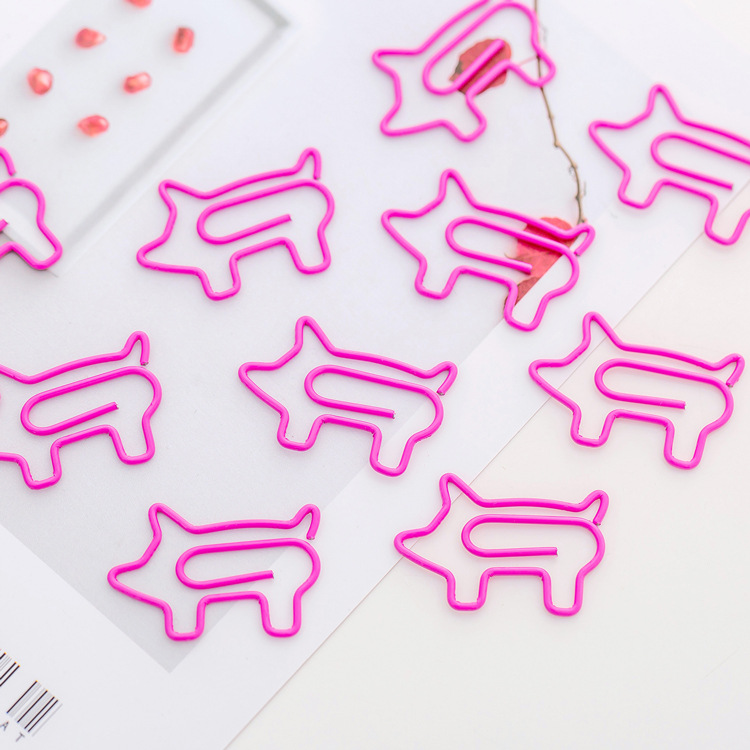 Mohamm Cute Creative Pink Pig Paper Clip Girl Heart Beat Student Test Paper Study Office Storage