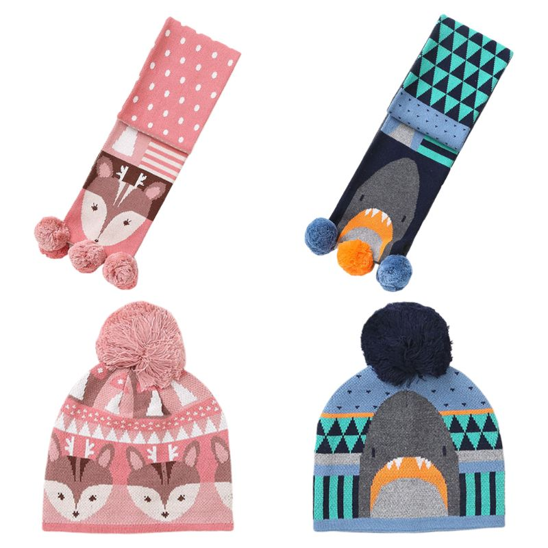 Toddler Kids Winter Knit Pompom Beanie Cap Long Scarf Shark Deer Cartoon Warmer High Quality And Brand New
