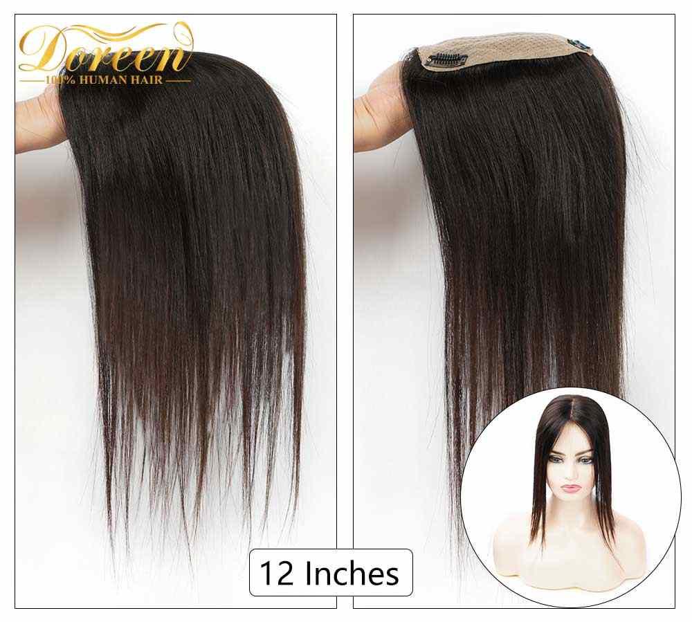 Doreen 12 Inch Silk Base Haar Topper Toupee Voor Vrouwen Natuurlijke Kleur Haar Stukken Met 3 Clip-In Remy human Haarstukken
