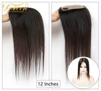 Doreen 12 Inches 10*14cm Silk Base Hair Topper Toupee For Women Natural Color Hair Pieces With 3 Clip in Remy Human Hairpieces