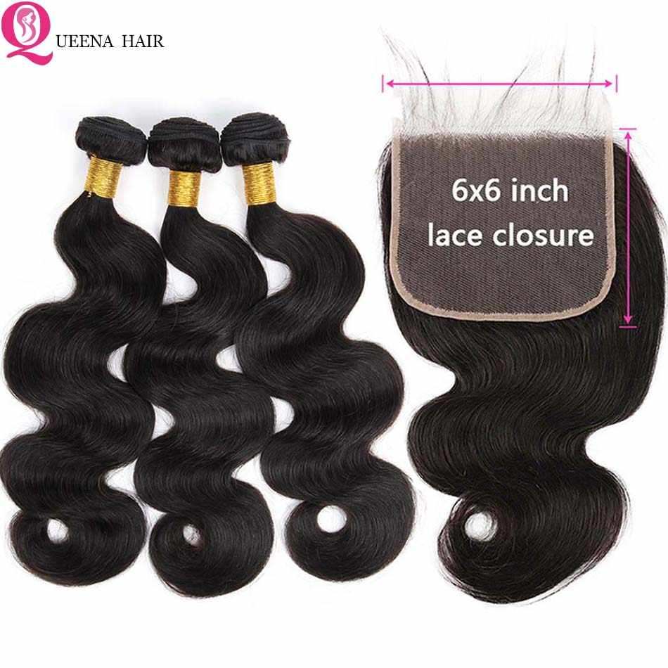 6*6 Lace Closure With Bundles Body Wave Bundles With Closure HD Transparent Top 6x6 Lace Closure Brazilian Human Hair Extensions