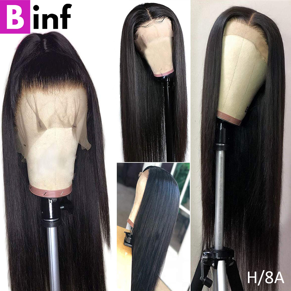 BINF Hair Indian 13X4 Straight Human Hair Wigs Lace Front Wig With Baby Hair Pre-Plucked Remy Hair 150% Density For Black Women