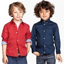 Spring Children shirts New Fashion Solid color 100% Cotton Good quality Satin Boys shirts Clothing  kids shirts