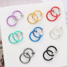 Unisex 2 Pcs Fake Nose Ring Goth Punk Lip Ear Nose Clip On Fake Septum Non Piercing Nose Ring Hoop Lip Hoop Rings Earrings(China)