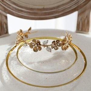 Image 5 - Diadème de mariée pour femmes, couronne à fleur dorée Vintage, strass, fait à la main, accessoires de cheveux de mariage